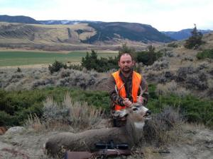 I took this hearty 4 1/2 year-old mule deer buck at 201 yards with my CZ 550 9.3x62mm Mauser.